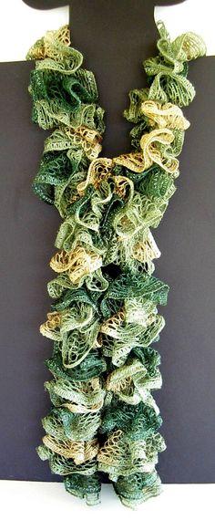 Ruffle Fashion Scarf Knit Crochet Sage Greens Tan by AllKindsofArt, $23.00