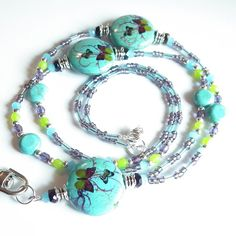 Beaded ID Badge Lanyard Turquoise Blue by Plumbeadacious on Etsy Green Butterfly, Butterfly Design, Lanyard Id Holder, Id Badge, Bead Caps, Blue Beads, Green And Purple, Turquoise Bracelet, Beading
