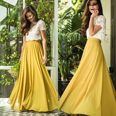 A line white lace long prom gown, 2 pieces yellow evening dress. Yellow Evening Dresses, Yellow Maxi Skirts, Maxi Skirt Outfits, Yellow Bridesmaids, Bridesmaid Dresses, Indian Designer Outfits, Designer Dresses, Stylish Dresses, Fashion Dresses