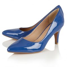 Electric Blue Court Shoe with Pointed Toe. Designed by Lotus and available at Shoes121.
