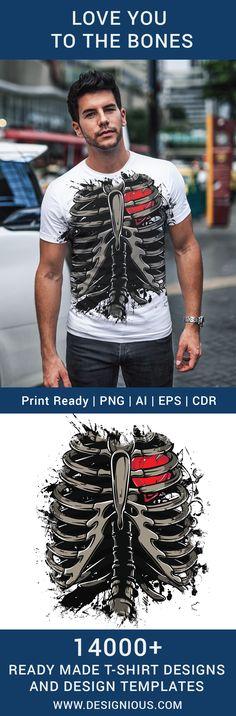 T-shirt design 333 - Ribcage and Heart T Shirt Design Template, Design Templates, How To Make Tshirts, Vector Format, Screenprinting, Rib Cage, Heat Transfer Vinyl, Hoodies, Sweatshirts