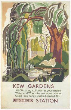 Details about kew gardens underground london england great britain vintage travel poster Kew Gardens, Banksy, Deco London, London Art, Tourism Poster, London Transport Museum, Pub, Railway Posters, Art Deco Posters