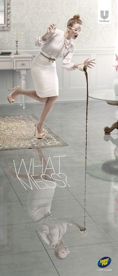 Super Pell Floor Cleaner: No mess #Coffee #Advertising #Unilever