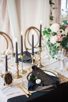 Bring out the navy candlesticks and start dreaming up a beautiful wedding tablescape. Just be careful to not overwhelm it with navy. Keep it simple and elegant with some details and touches, like napkins or menus, leaving the rest to a lighter shade like blush with some gold accents.   11 Elegant Navy Wedding Ideas
