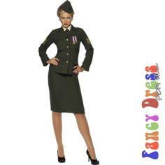 GREEN WWII WARTIME FEMALE OFFICER SUIT - size 8-10 small - womens fancy dress | eBay