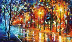 (new) Misty Night — PALETTE KNIFE Oil Painting On Canvas by AfremovArtStudio, $299.00