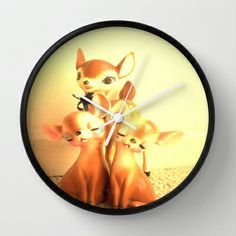 3 little deer Wall Clock by Vintage  Cuteness - $30.00 #vintage #deer #doe #fawn #kitsch #childrens #kawaii #decor #clock
