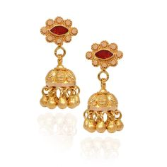 jhumki-Earrings | Elegant Gold Beads With Red Stone Studded Gold Jimmiki | GRT Jewellers