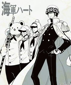 Parallel universe: Heart pirates become Marines. One Piece
