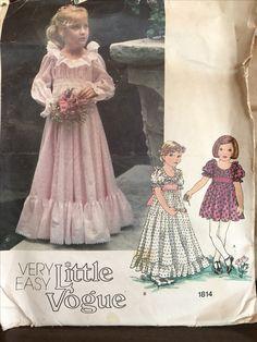 f9e209f2fc2f Girls Size 3 Very Easy Ruffled Maxi Dress Vogue 1814 Pattern Flower Girl
