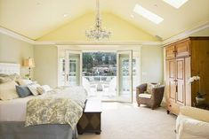 Luxury bedroom with beige wool carpet vaulted ceiling skylights and chandelier French Doors Bedroom, Farmhouse Master Bedroom, Master Bedrooms, Luxurious Bedrooms, Luxury Bedrooms, Decor Styles, Room Decor, House Design, Interior Design