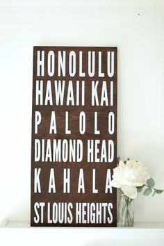 Our Oahu Cities, Subway Wooden Sign is inspired by the cities on Oahu. Using reclaimed, re-purposed wood from Hawaii, we hand cut, sanded, hand painted this up-cycled wood sign. We then dry it on our lanai by the Hawaiian Sun.
