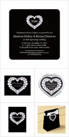 Black diamond heart wedding collection. Designed by www.mylittleedenweddings.com #diamondheartwedding #weddings #weddinginvite #blackwhitewedding
