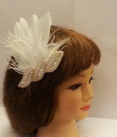 OPENING SALE !!!    1920s Head piece. Bridal Prom Flapper Forehead headband Great Gatsby Hair accessory Beautiful White  and Gold Bead and feather Vintage Head Piece.   - embellished with sparkling White and gold crystal pearl applique  - mix of   goose , rooster feathers and wispy ostrich fringe  Amazing and Affordable Low price  Fast mvoing      Attachment Options to choose:  - Aligator clip  - Satin covered alice band    -  1.5 cm white satin  ribbon tobe tied with at the back      for…