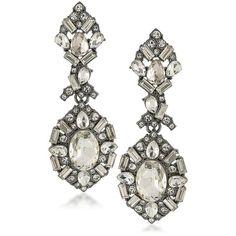 ABS by Allen Schwartz Jewelry Black Magic Crystal Chandelier Earrings ($68) ❤ liked on Polyvore featuring jewelry, earrings, apparel & accessories, silver, crystal stone jewelry, abs by allen schwartz jewelry, crystal jewelry, post back earring and chandelier earrings