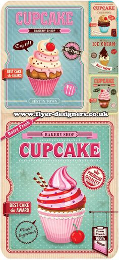 cupcake illustration suitable for cupcake party flyers www.flyer-designers.co.uk #cupcake #cupcakeflyers #cupcakebusiness