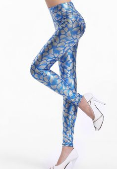 Blue Metallic Look Serpentine Tight Pant