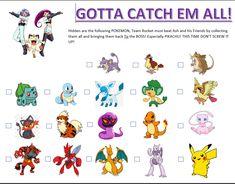 Baby Boy Birthday, Birthday Games, 8th Birthday, Pokemon Hunt, Pokemon Team Rocket, Pokemon Themed Party, Pokemon Birthday, Scavenger Hunt Clues, Scavenger Hunts