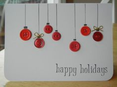 This holiday season hand out these DIY Christmas Cards to your loved ones and tell them how much you care. These Handmade Christmas cards are easy & cheap. Button Christmas Cards, Christmas Card Crafts, Button Cards, Homemade Christmas Cards, Christmas Cards To Make, Christmas Greetings, Homemade Cards, Christmas Crafts, Diy Holiday Cards