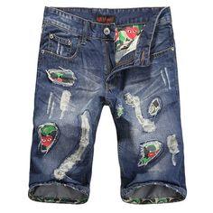 63b7d6ee Summer Men Ripped Knee Length Denim Shorts Beggar Holes Mens Casual Straight  Beach Shorts Board Shorts Patches Surf Jeans Shorts