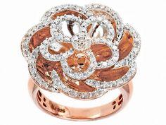Charles Winston Diamonds .95ctw Round Diamond 14k Rose Gold Over Sterl
