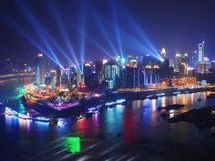 Chongqing, China. A noite na cidade