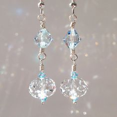 Crystal Blue Shade Swarovski Crystal and Clear Swarovski Crystal between Aquamarine Swarovski Crystals Sterling Silver on Etsy, $24.00