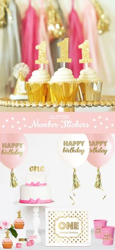 Gold Glitter Number Cup Cake Toppers DIY Glitter by ModParty
