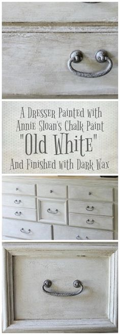 Old White for a New Look A dresser painted with Annie Sloan s chalk paint Old . Old White for a New Look A dresser painted with Annie Sloan s chalk paint Old White A mix of dar Annie Sloan Painted Furniture, Painted Bedroom Furniture, Annie Sloan Paints, Dark Furniture, Colorful Furniture, Vintage Furniture, Furniture Ideas, Annie Sloan Chalk Paint Furniture, Annie Sloan Chalk Paint Colors