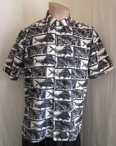 AVI COLLECTION BY KAHALA VINTAGE HAWAIIAN FISH PRINT SHIRT M MEDIUM HAWAII #AVICOLLECTIONBYKAHALA #Hawaiian
