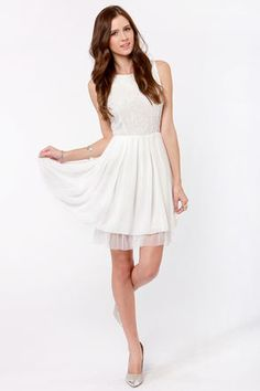Check it out from Lulus.com! For a girly look that's a perennial favorite, how about a twirl in the Bead-gonias in Bloom Beaded White Dress