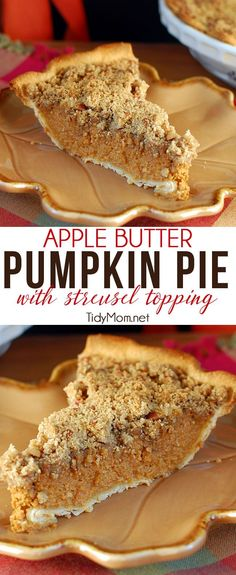 """APPLE BUTTER PUMPKIN PIE WITH STREUSEL TOPPING is a delicious combination of flavors and texture that just screams """"fall"""" with apple and pumpkin, in a heavenly spiced custard pie.  The slightly crisp pecan  streusel topping gives a surprising crunch in every bite.  Apple Butter Pumpkin Pie recipe at TidyMom.net"""