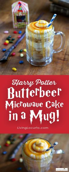 Harry Potter Butterbeer Microwave cake in a mug.. For you butterbeer lovers, now you can have it in cake form and in 5 minutes. Gotta love the mug cake that cooks in the microwave. This also includes a butterbeer frosting, so you could pop them into a bigger glass to enjoy.