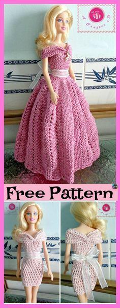 Latest Pics amigurumi doll dress Tips 6 Pretty Crochet Doll Dress – Free Patterns 6 Pretty Crochet Doll Dress – Fr Crochet Barbie Patterns, Crochet Doll Dress, Barbie Clothes Patterns, Crochet Barbie Clothes, Doll Dress Patterns, Crochet Doll Pattern, Moda Barbie, Accessoires Barbie, Barbie Dress