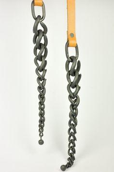 Sophie Hanagarth - - collier TRESSE - fer forgé & cuir