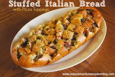Pizza Stuffed Italian Bread is a dinner your kids will love!