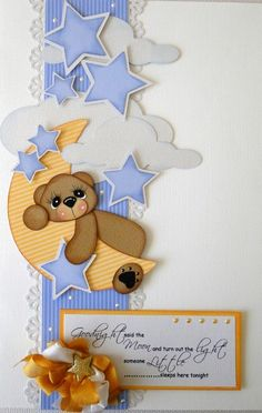 Goodnight said the Moon-this card would be a great scrapbook page w/picture of child in PJ's Baby Boy Scrapbook, Scrapbook Cards, Scrapbook Borders, Baby Scrapbook Pages, Scrapbook Embellishments, Scrapbook Page Layouts, Scrapbook Paper Crafts, Creative Memories, Cricut Cards