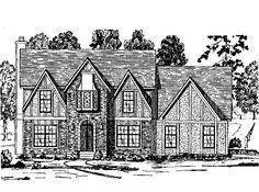 Tudor House Plan with 2628 Square Feet and 5 Bedrooms from Dream Home Source | House Plan Code DHSW08114