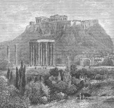 Ruins of the Temple of Jupiter and the Acropolis, Greece 1893 print Acropolis Greece, Athens Hotel, Temple, Stone, Monuments, City, Painting, Beautiful, Vintage