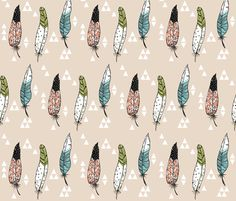 Feathers and Triangles fabric by taraput on Spoonflower - custom fabric