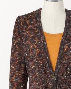 Tunic length cardi with openwork pattern and back shaping at waist.  Another hit from Coldwater Creek.