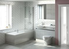 Contemporary fitted bathroom furniture range from Utopia Bathrooms in Sandwashed White with a matt black metallic handle strip. Fitted Bathroom Furniture, Scandi Style, Contemporary, Modern, Toilet, Bathtub, Range, Bathroom Designs, Bathroom Ideas