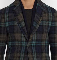 f380428313 BOTTEGA VENETA Blue Checked Wool Blazer Mens Designer Blazers