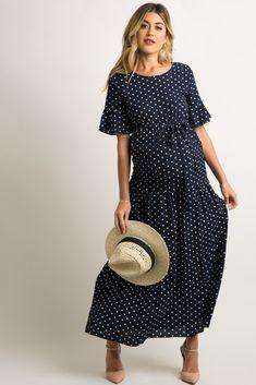 Navy Polka Dot Flounce Tiered Maternity Maxi Dress