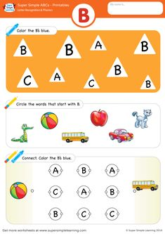 Practice uppercase letter B recognition and basic phonics with this alphabet worksheet. Preschool Songs, Preschool Printables, Preschool Worksheets, Nursery Worksheets, Alphabet Worksheets, English Phonics, Letter Activities, Letter Recognition, Letter B