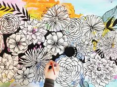 Working on some big decorative floral paintings for my upcoming studio retreat Petals & Paint!