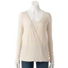 Ribbed Faux-Wrap Top Women's Size L SONOMA life + style Dune Heather NWT #Sonoma #KnitTop #Casual