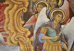 Archangels: detail of a fresco in the Rila porch