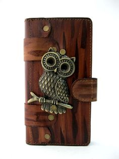 COW LEATHER CELLPHONE CASE FOR SAMSUNG GALAXY S7 EDGE OWL EMBLEM-S #Samsung
