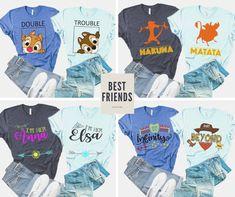 Best Friend Matching Shirts, Matching Couple Shirts, Best Friend Shirts, Matching Couples, Disney Couples, Disney Shirts For Family, Shirts Bff, Disney Best Friends, Disney Honeymoon